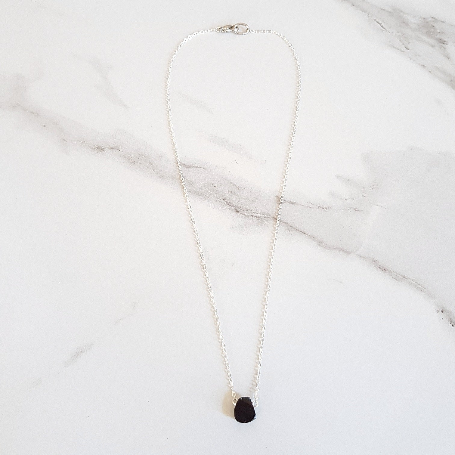 Shield Dainty Necklace - Black Obsidian