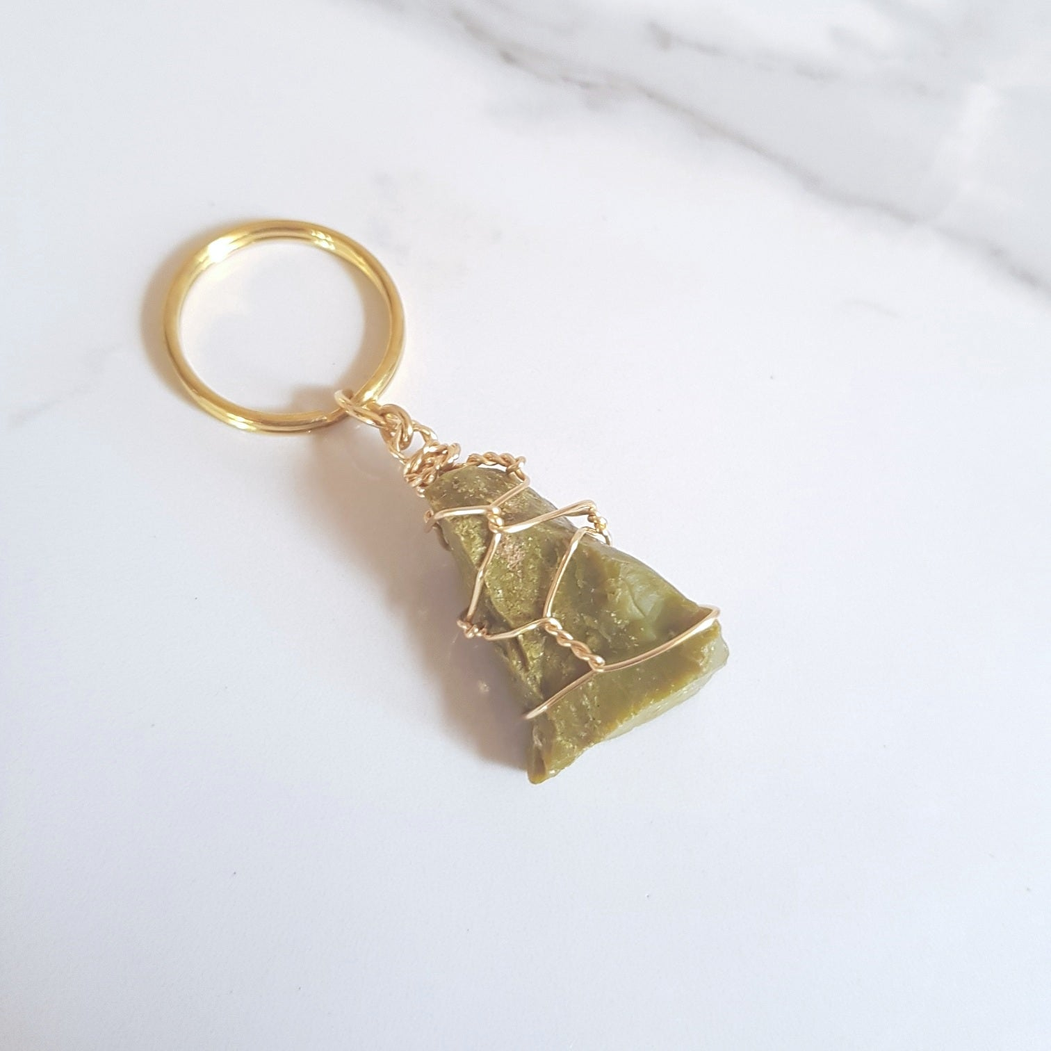Gemstone Keyring - Green Opal