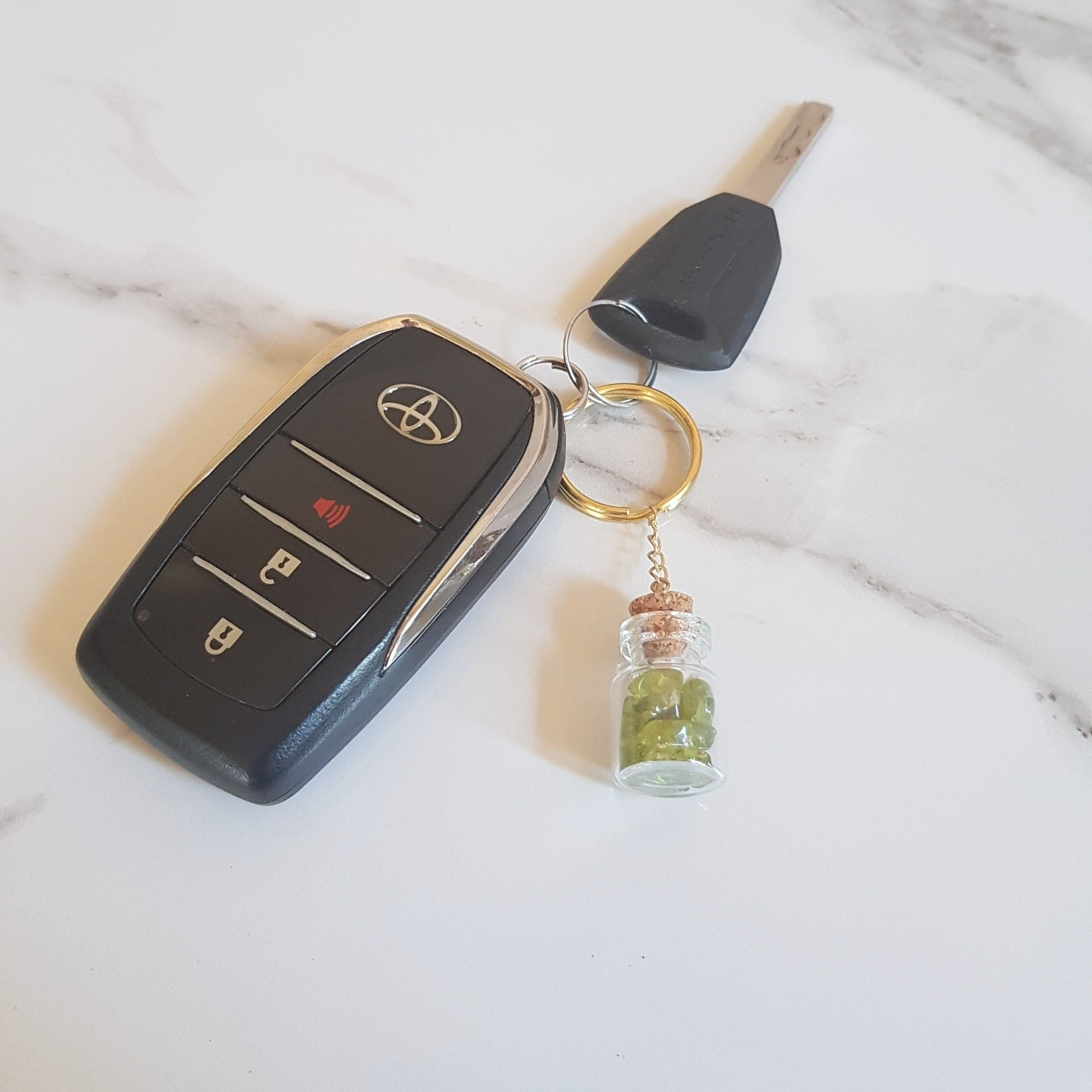 Bottled Gemstone Keyring - Peridot