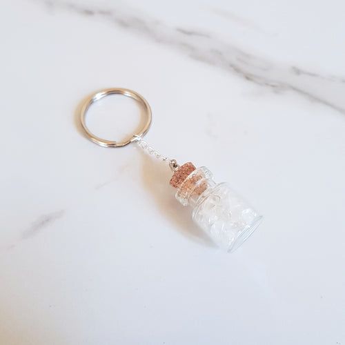 Bottled Gemstone Keyring - Clear Quartz