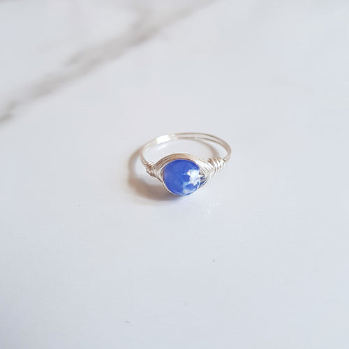Moon Ring - Blue Crackle Agate