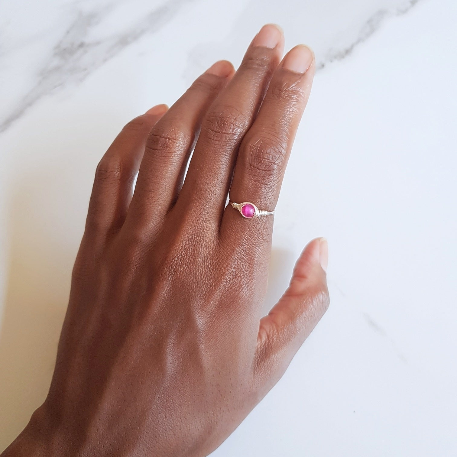 Mini Moon Ring- Pink Agate