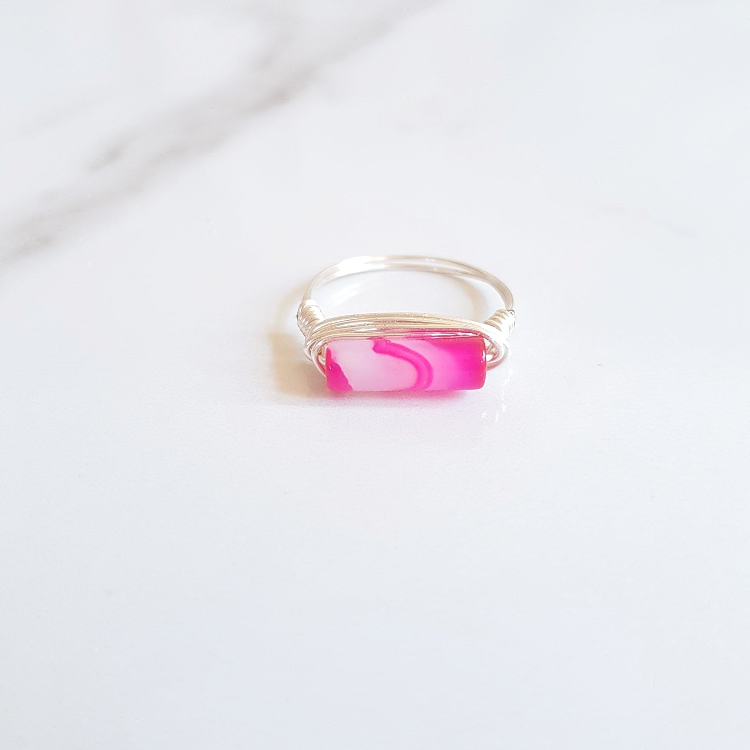 Rail Ring - Pink Agate