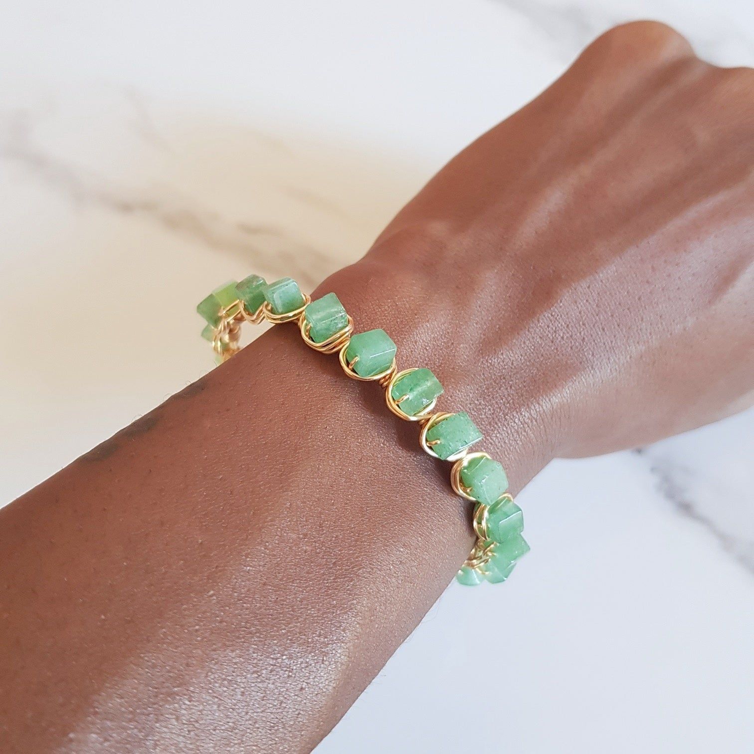 Vintage Mermaid Cuff -Green Aventurine (OAK)
