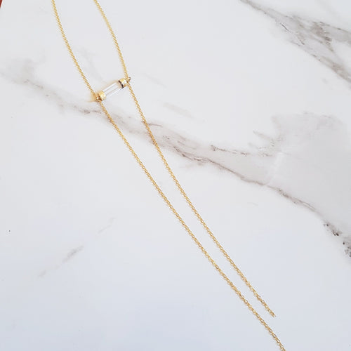 Lariat Necklace - Clear Quartz (OAK)