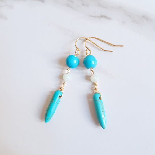 Accra Earrings- Turquoise & Amazonite (OAK)