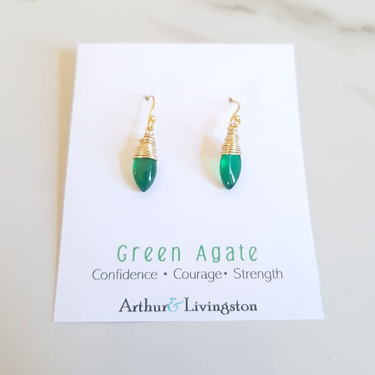Palm Earrings - Green Agate (OAK)