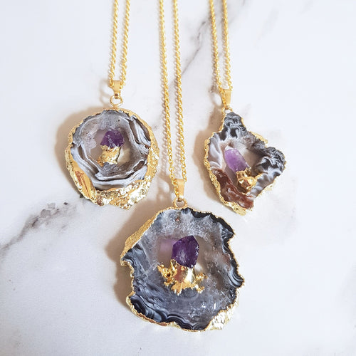 Cave Necklace - Amethyst & Agate