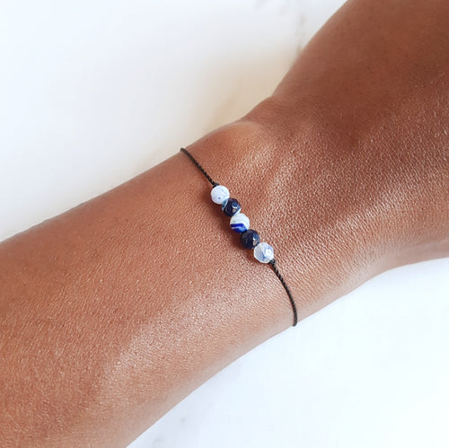 Nylon Bracelet - Blue Agate Bar