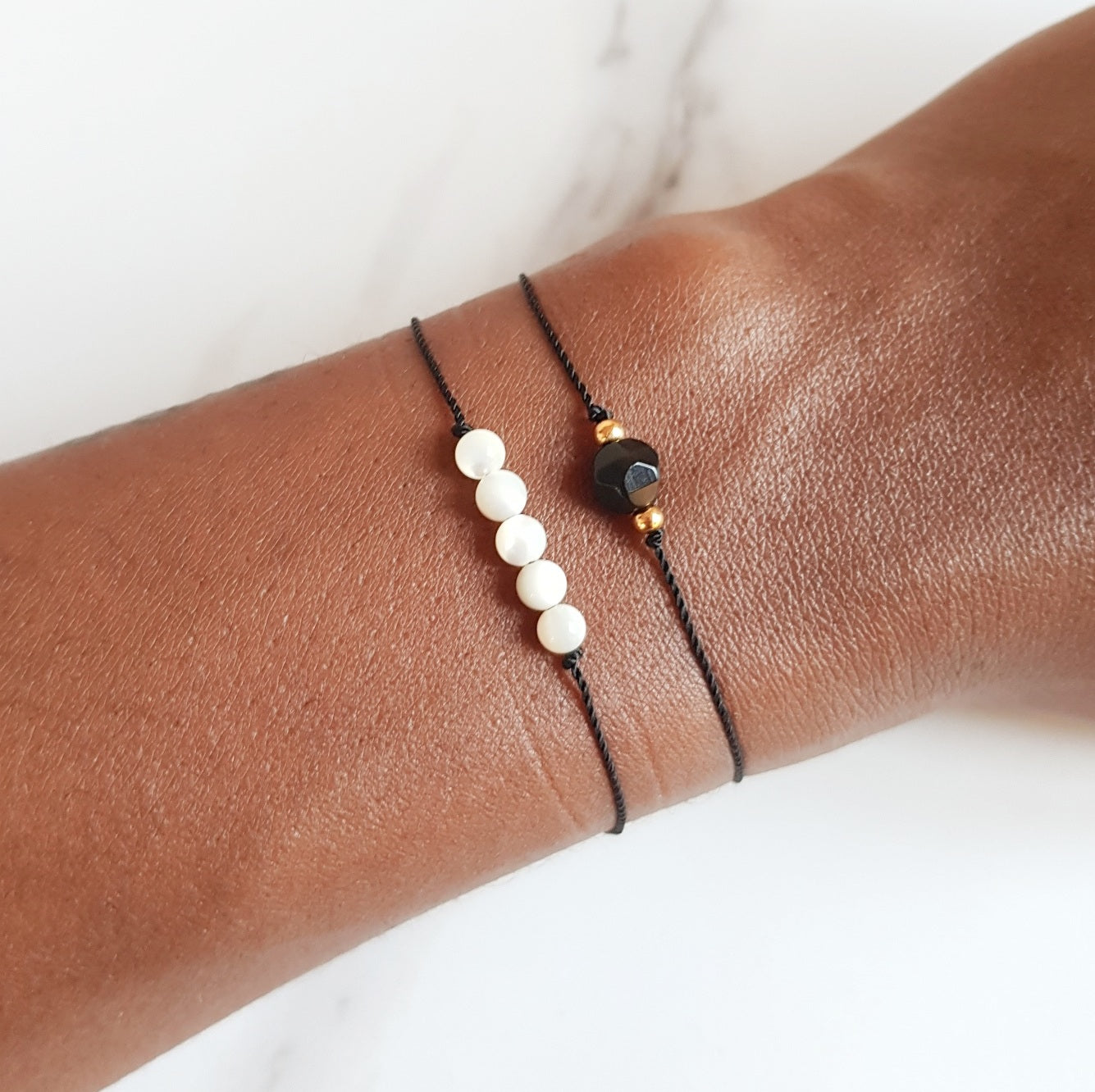 Nylon Bracelet - Pearl Bar