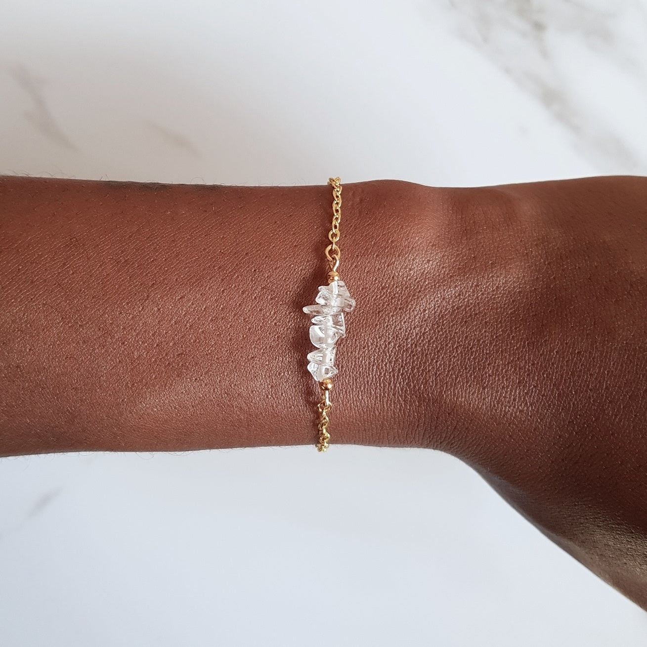 Cable Link Bracelet- Clear Quartz
