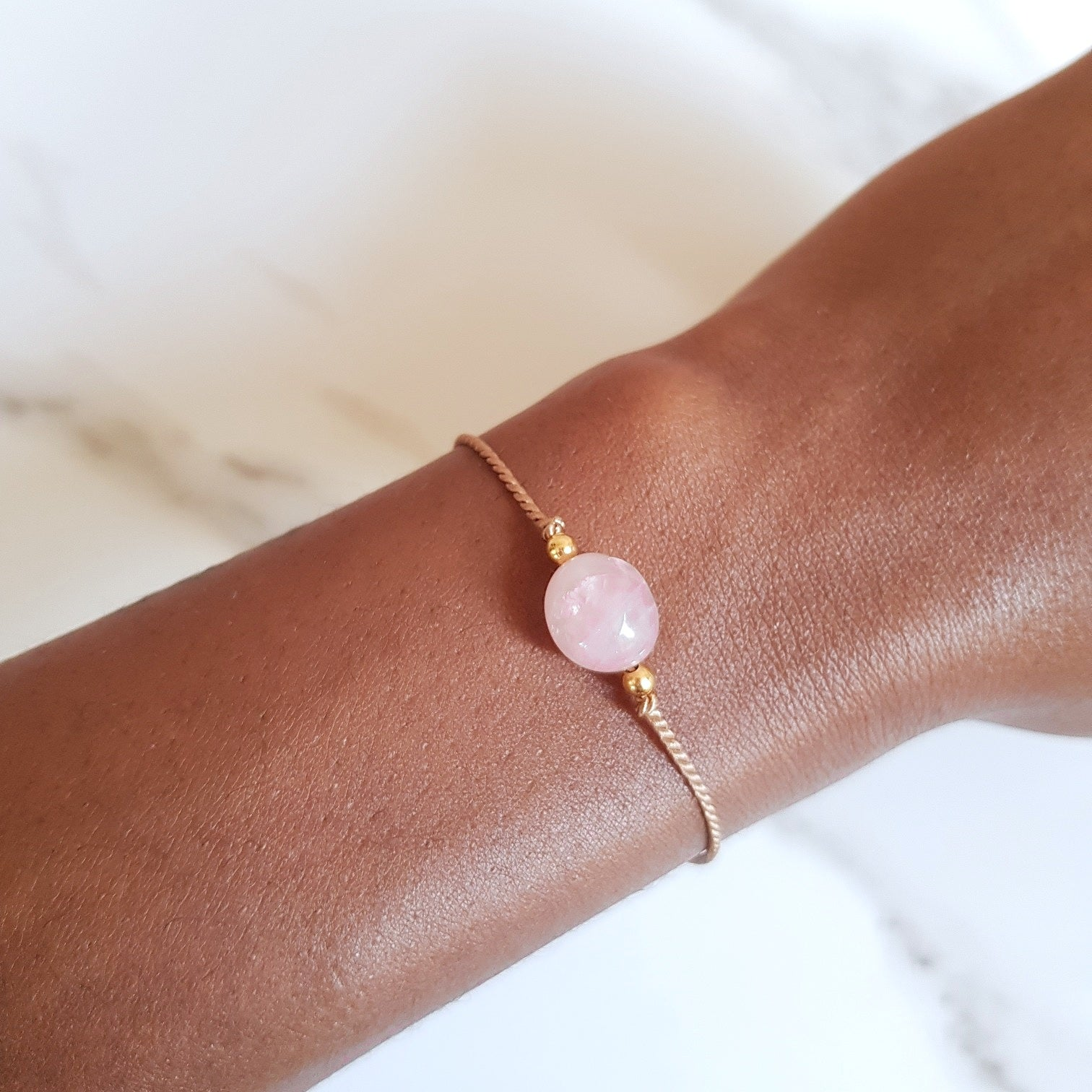 Nylon Bracelet - Rose Quartz
