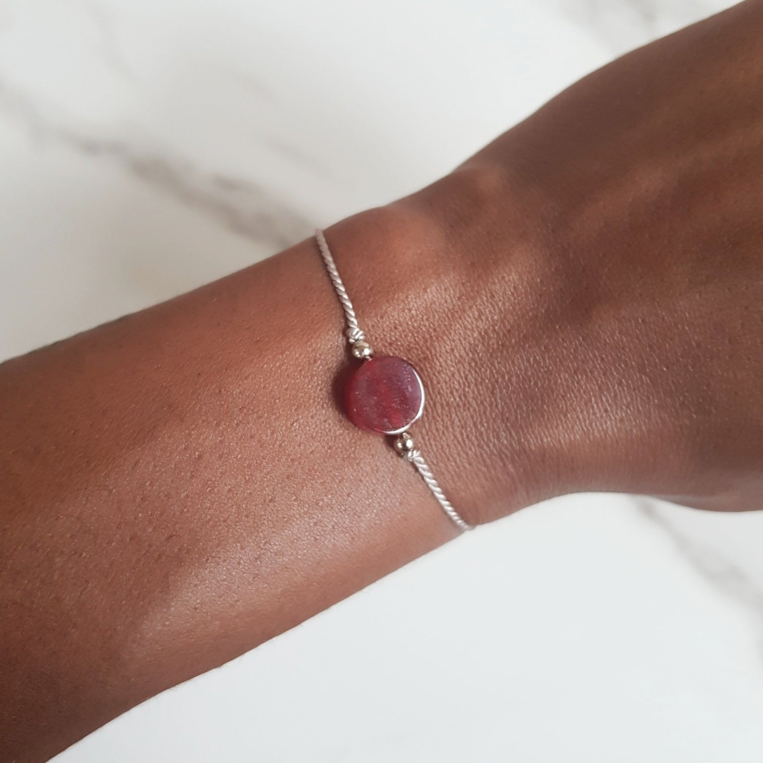 Nylon Bracelet -Red Jade