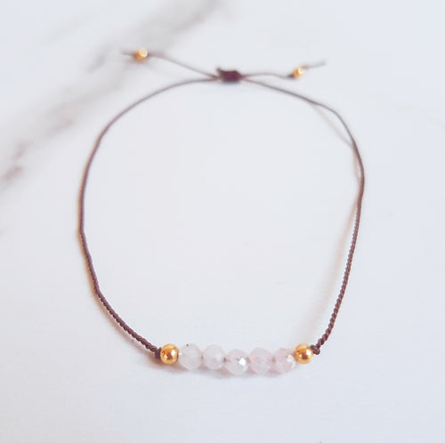 Nylon Bracelet (Minis) - Rose Quartz