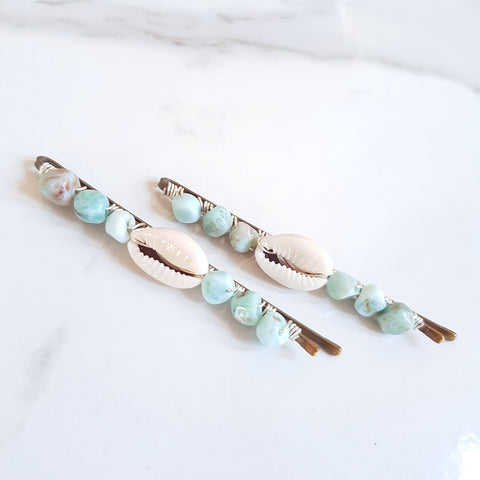 Gemstone Hair Pins - Amazonite