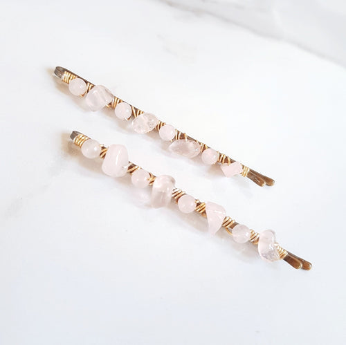 Gemstone Hair Clips - Rose Quartz