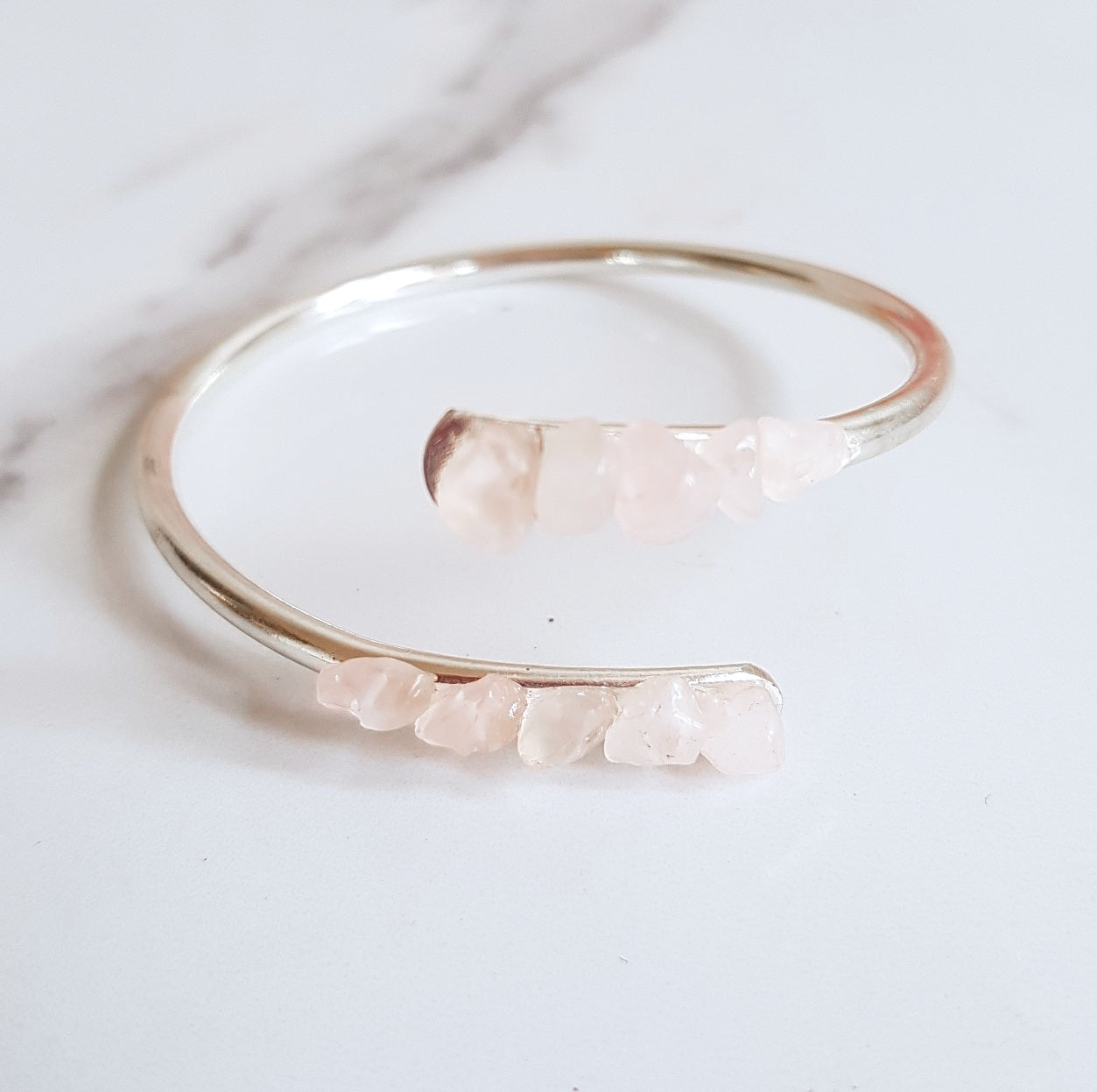 Rose Quartz Bangle - Silver
