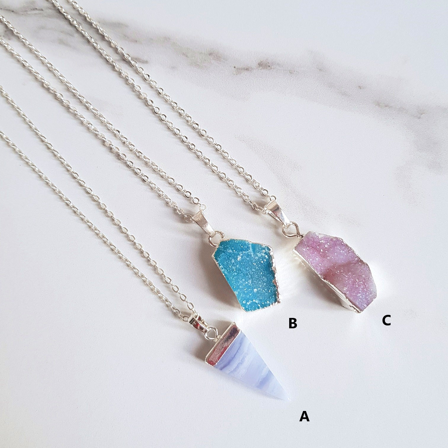 Druzy Quartz & Blue Lace Agate Pendant Necklaces