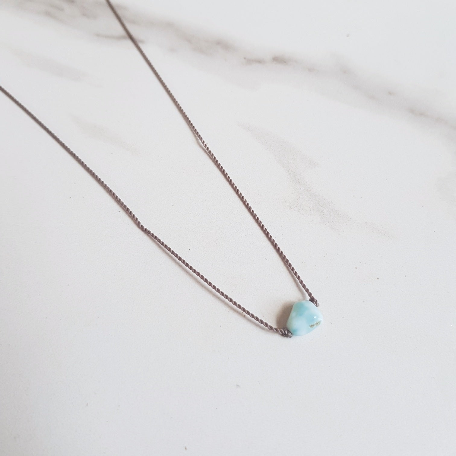 Larimar Nylon Dainty Necklace