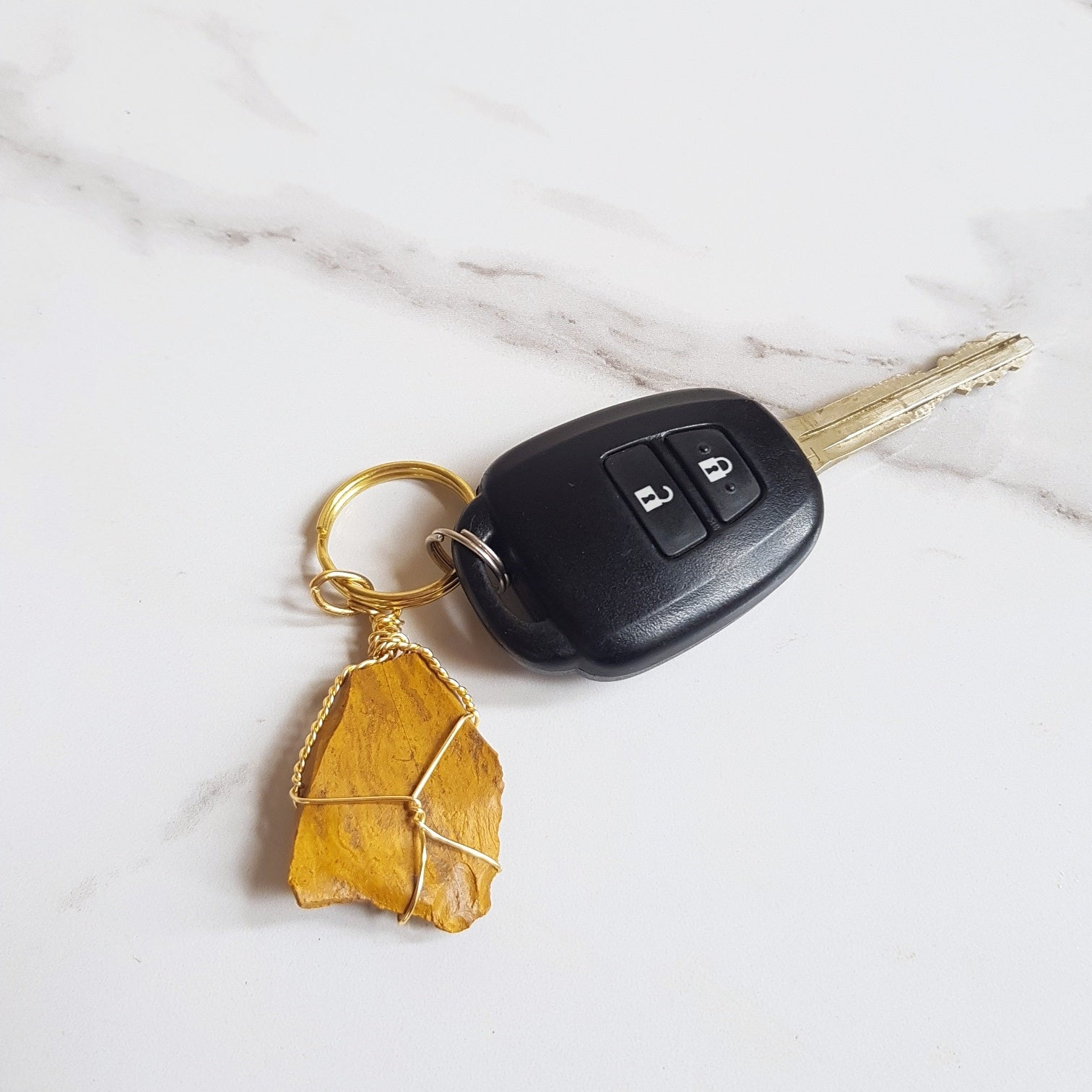 Gemstone Keyring - Yellow Jasper
