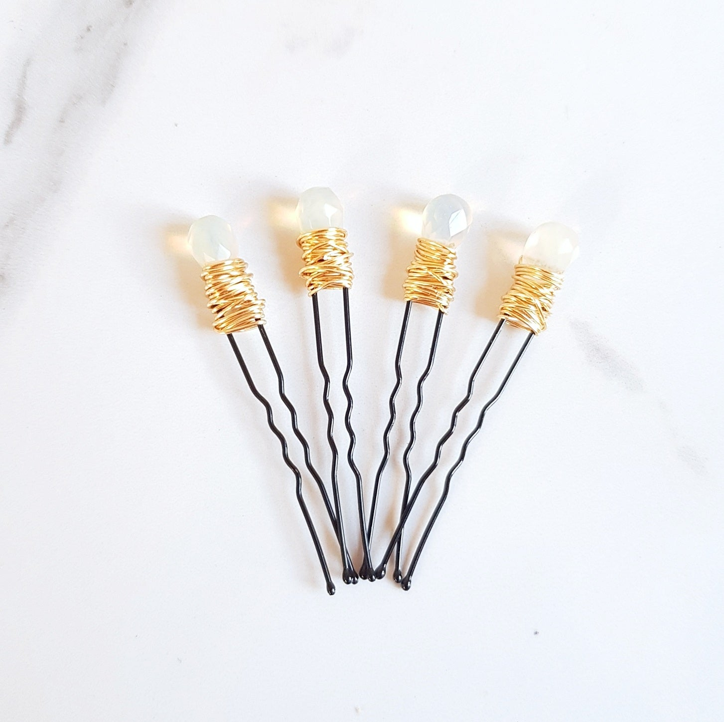 Gemstone Hair Pins - Opalite