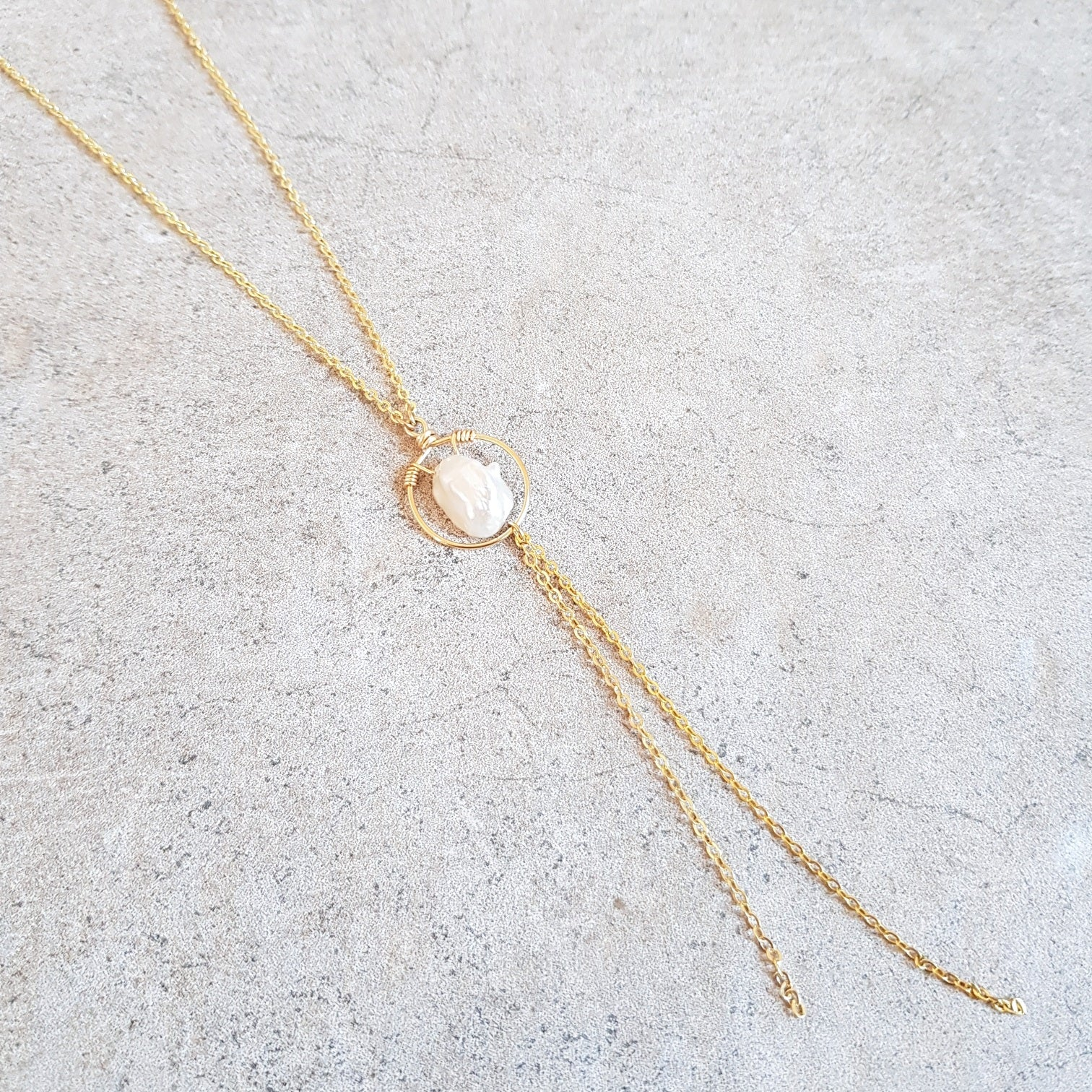 Lariat Necklace - Pearl