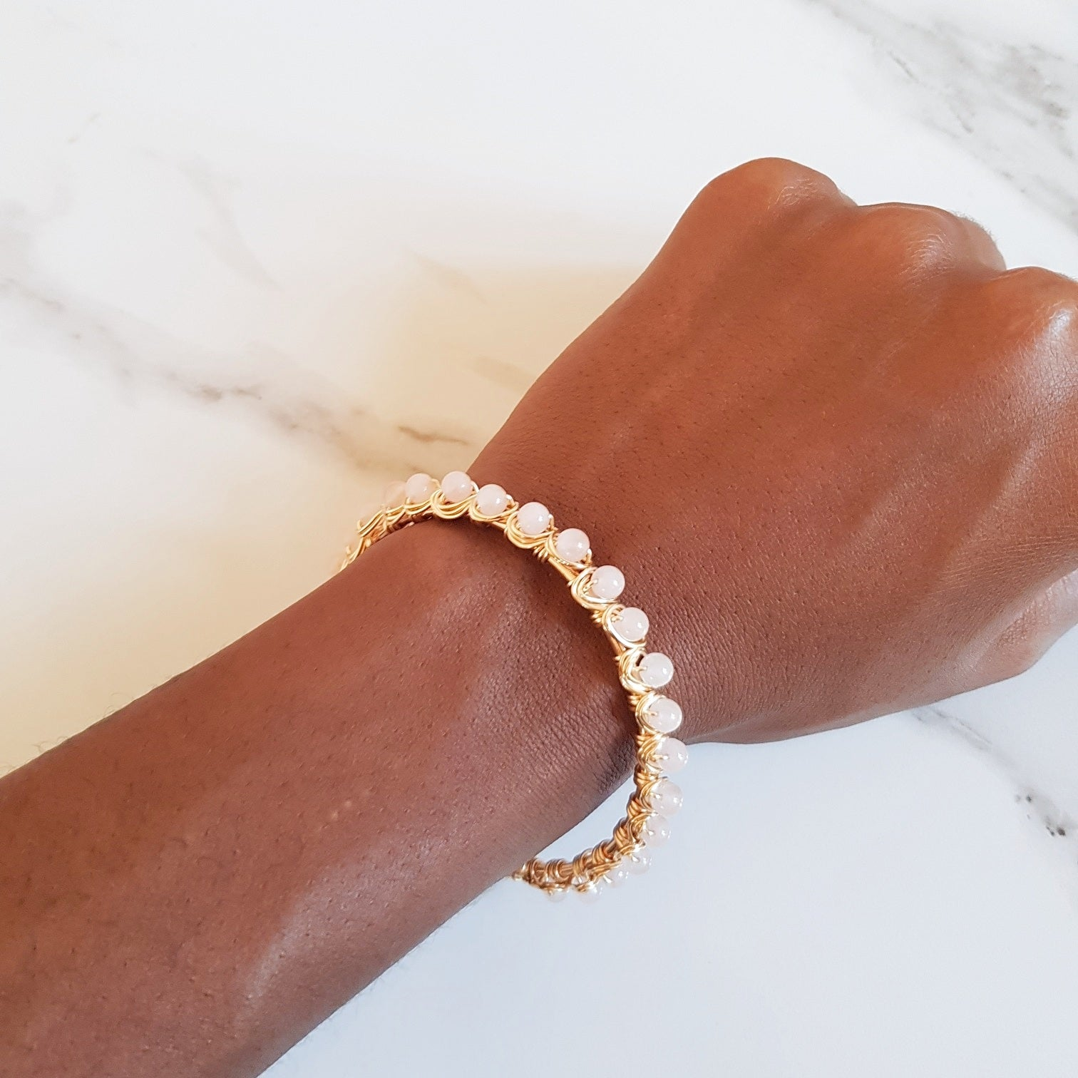 Crown Cuff- Rose Quartz