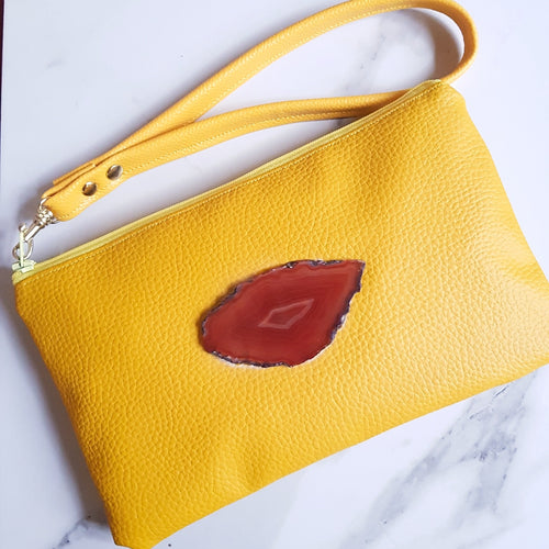 Yellow Wristlet Bag with Agate Slice