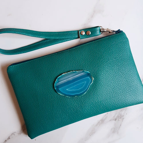 Teal Wristlet Bag with Agate Slice