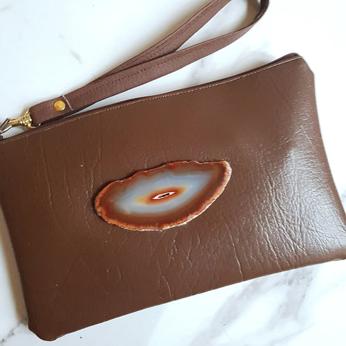 Brown Wristlet Bag with Agate Slice