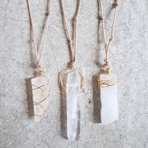 Natural Cord Pendant Necklaces - Clear Quartz