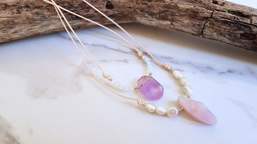 Natural Cord Collar Pendant Necklace - Amethyst