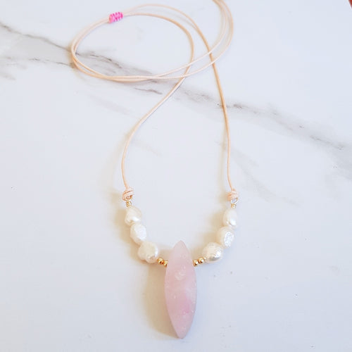 Natural Cord Collar Pendant Necklace -  Rose Quartz