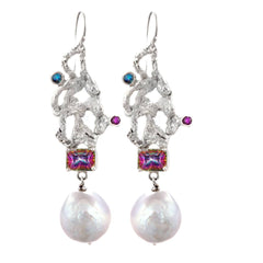 Blue topaz , amethyst , rainbow topaz and baroque pearl accent earrings in sterling silver.