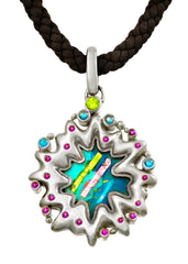 Sterling Silver Enameled Pendant accented with Amethyst, Blue Topaz, and Peridot
