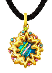 24K Gold plated Sterling Silver Enamaled Pendant accented with Diamond and Blue Topaz