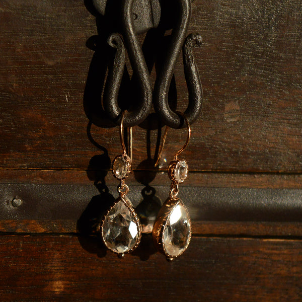 rose gold-plate and clear quartz