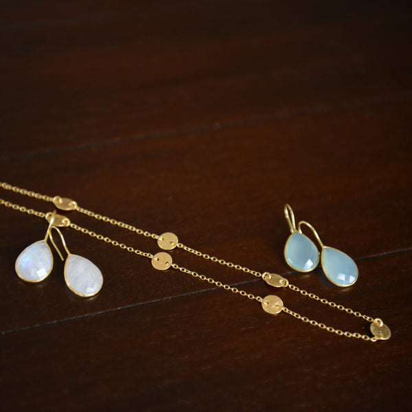 Moonstone and Aqua Chalcedony shown with our Belly Dancer's Delight