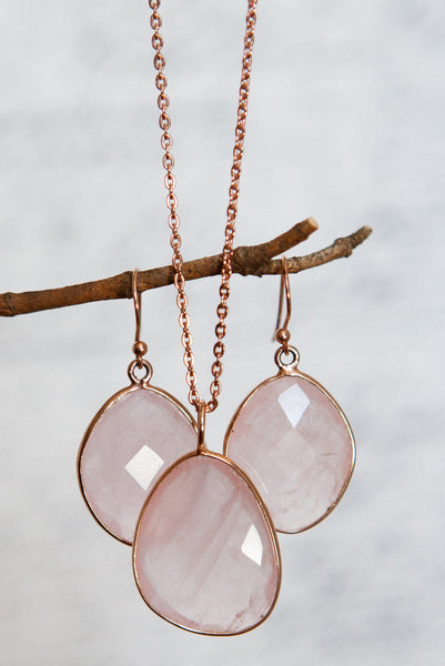 Rose Quartz set in 14k rose gold plated sterling silver, earrings sold separately