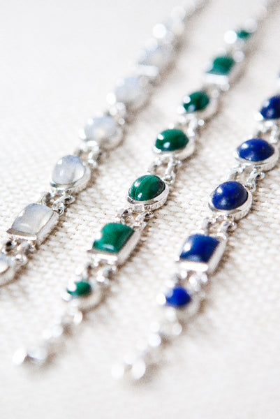 Moonstone, Malachite, Lapis