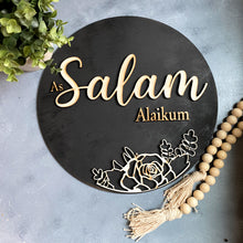 Load image into Gallery viewer, muslim home decor salam door sign isalmic gifts muslim housewarming gifts salaam door wreath door decor muslim kids muslim mom muslim home muslim gifts islamic gifts islamic mom isalmic kids as salam alikum door sign
