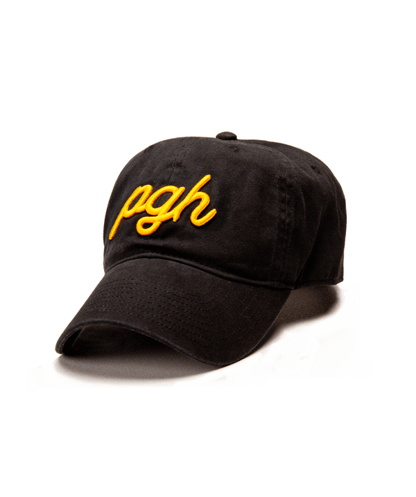 PGH Script Black Strapback Hat - Steel City
