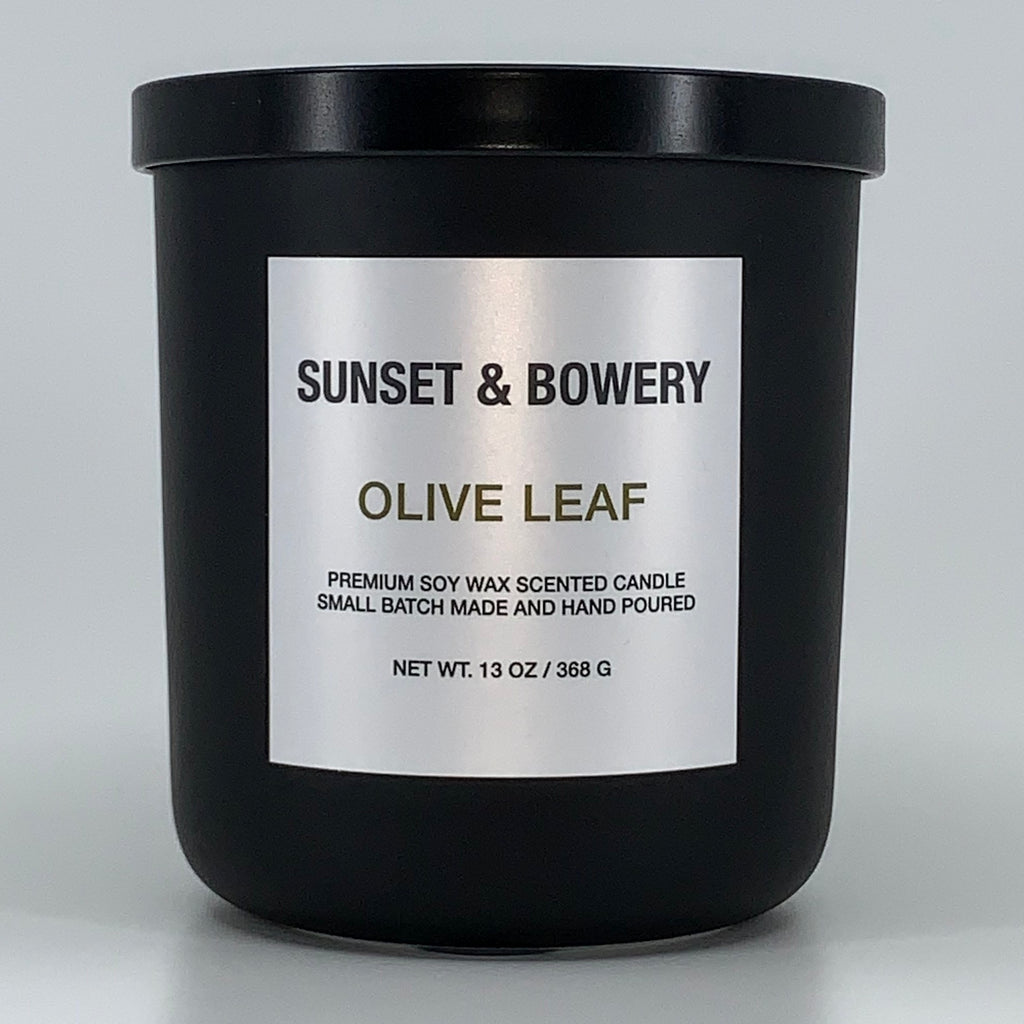 OLIVE LEAF - 13 OZ MATTE BLACK CANDLE