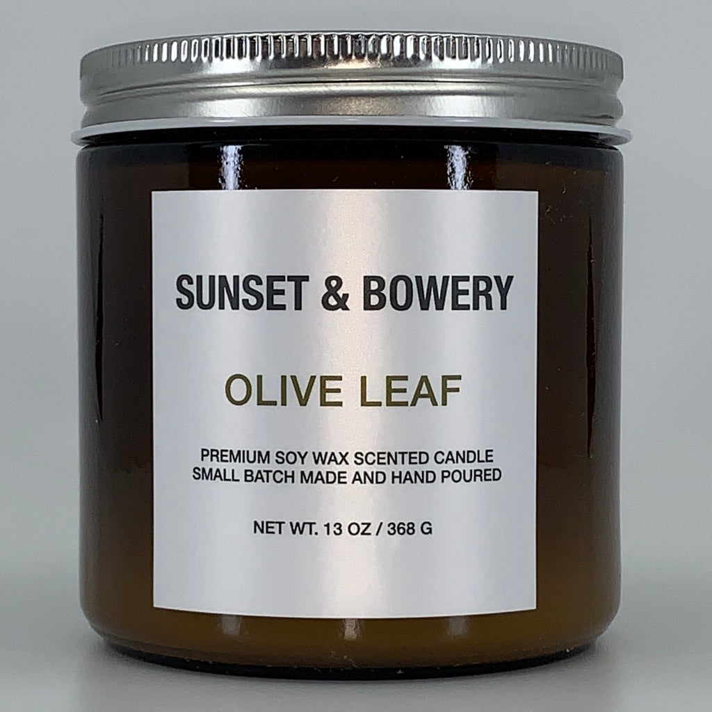 OLIVE LEAF - 13 OZ AMBER GLASS JAR CANDLE