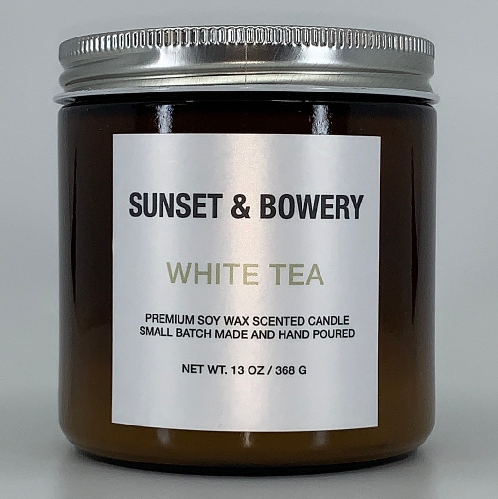 WHITE TEA - 13 OZ AMBER GLASS JAR CANDLE