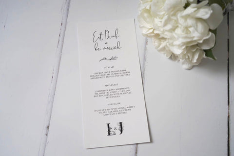 Simple Modern Wedding Menu