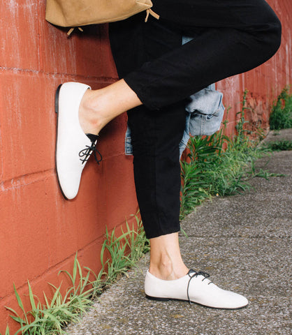 RBG FLATS by NICORA SHOES all VEGAN and white flats