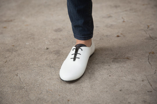 RBG lace up vegan flat in white. NICORA vegan shoes and boots