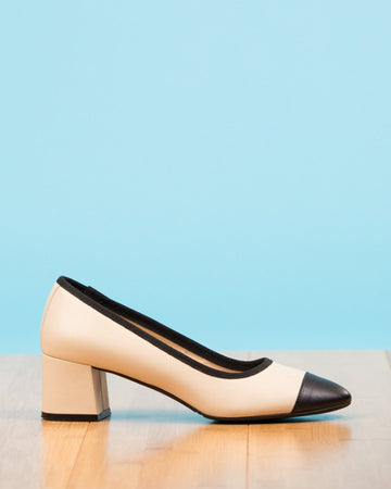 Vegan black pumps with block heel by NICORA shoes - Tarana Heels
