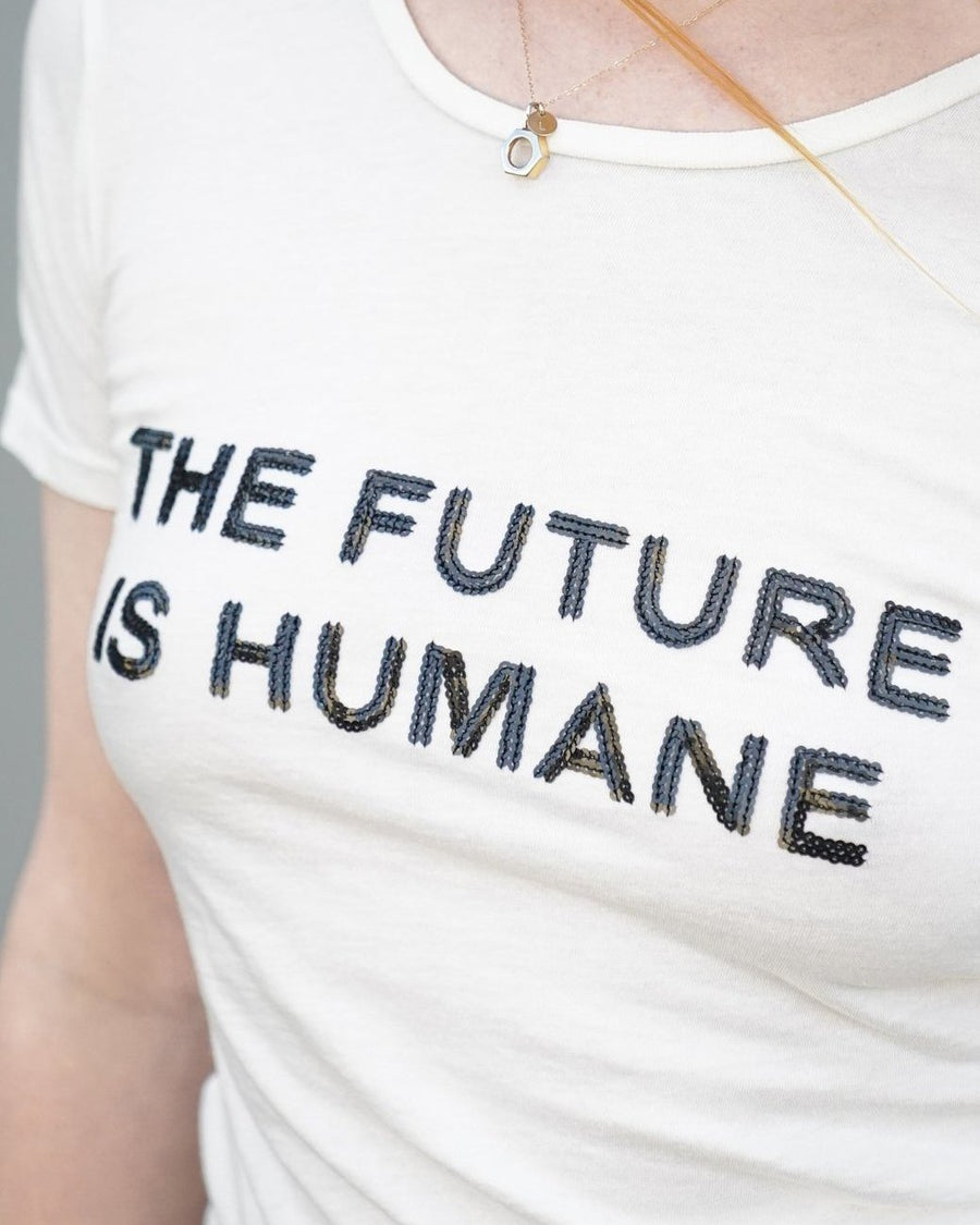 NICORA ecofeminist tees. The Future is Humane tee. Groceries Apparel